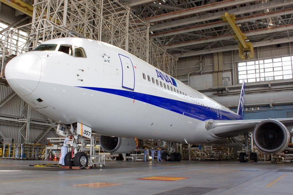 Boeing 787 Under Maintenance in the ANA Hangar