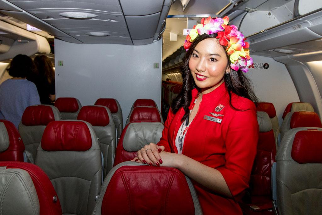 AirAsia X Cabin Crew Posing in Economy
