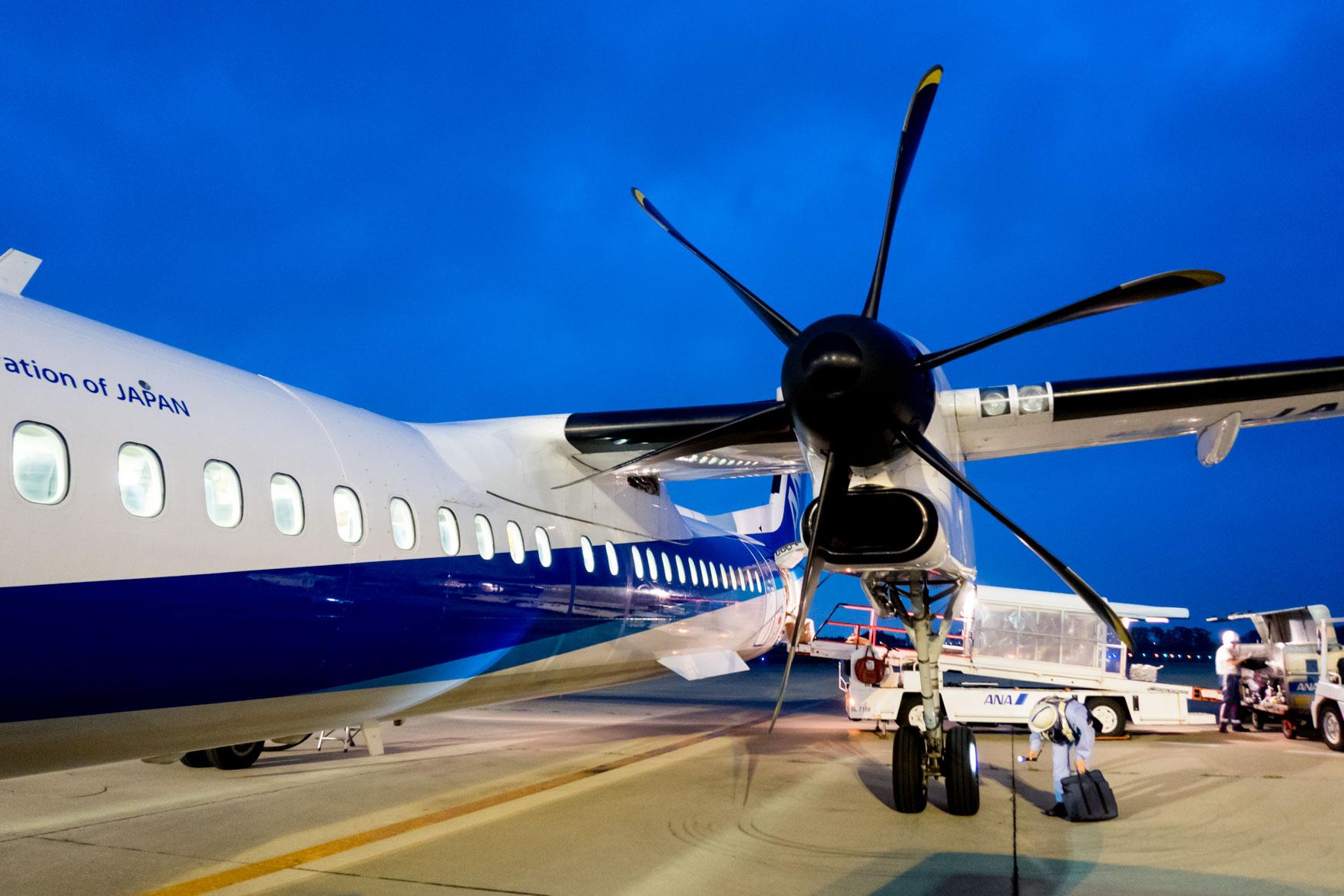 ANA Wings Q400 at Sendai Airport