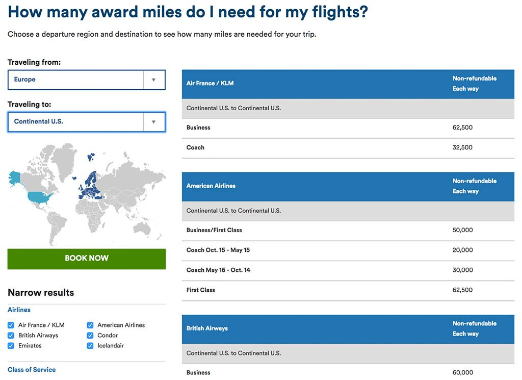 Alaska Airlines Award Chart