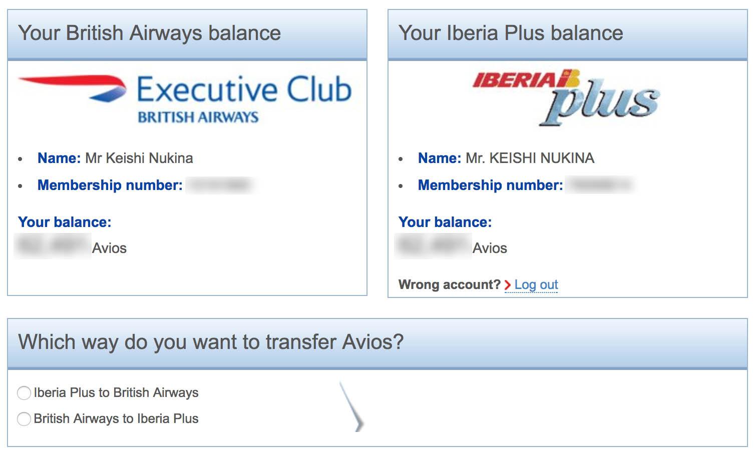 Avios Transfer from British Airways to Iberia