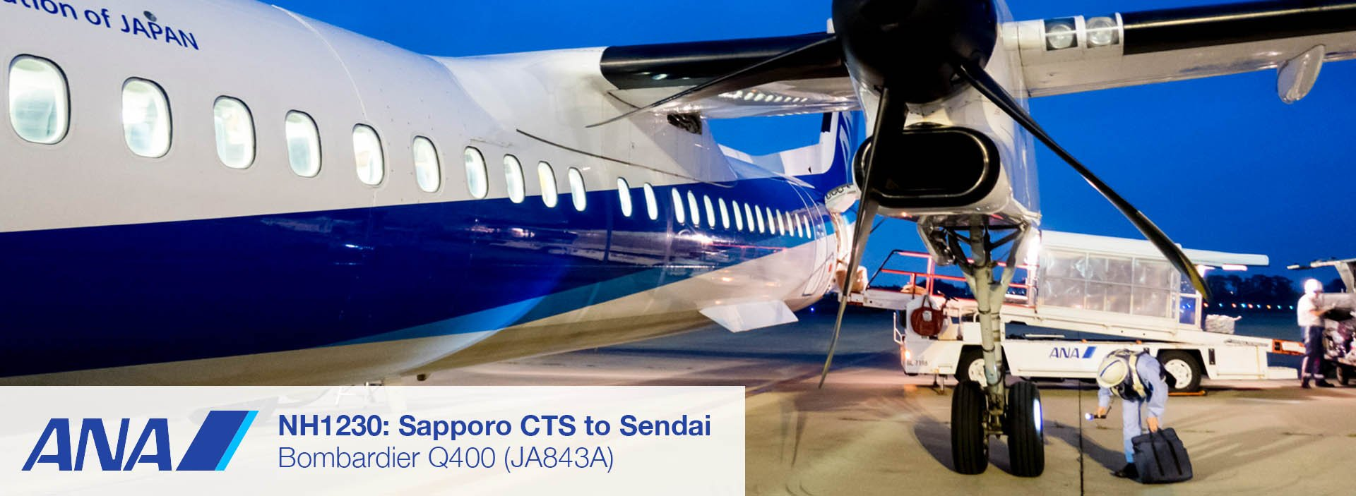 ANA Wings Dash 8 Q400 Economy Class Sapporo CTS to Sendai Flight Review