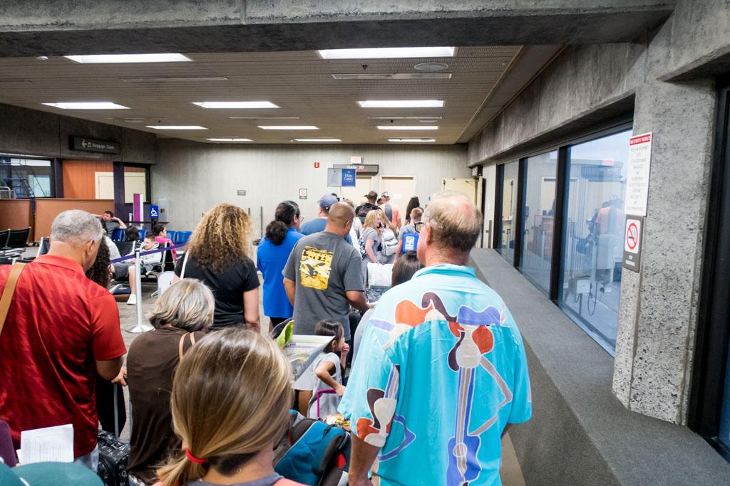 Boarding Hawaiian Airlines Flight from Kahului to Honolulu