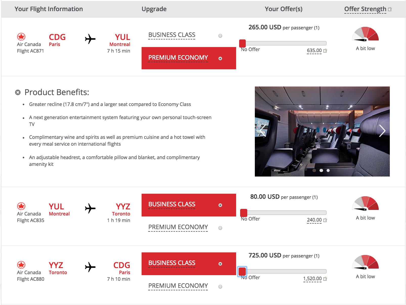 Air Canada Upgrade Bid