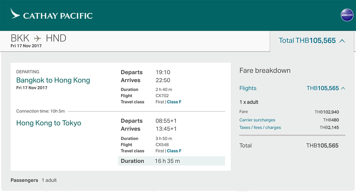 Cathay Pacific First Class One-Way