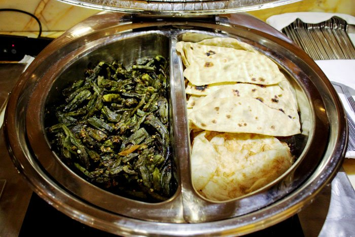 Indian style green vegetables and chapatti
