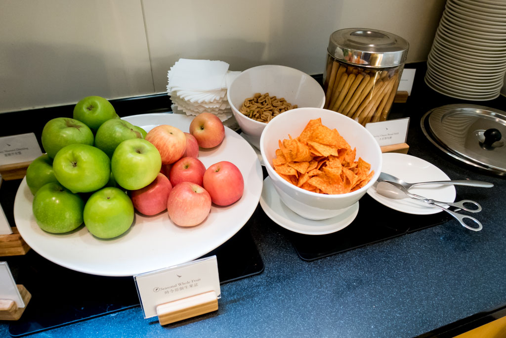 Fruits and snacks.