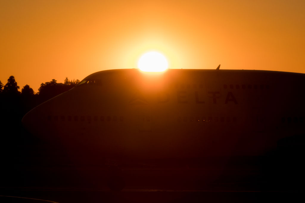 Delta Air Lines 747-400 During Sunset