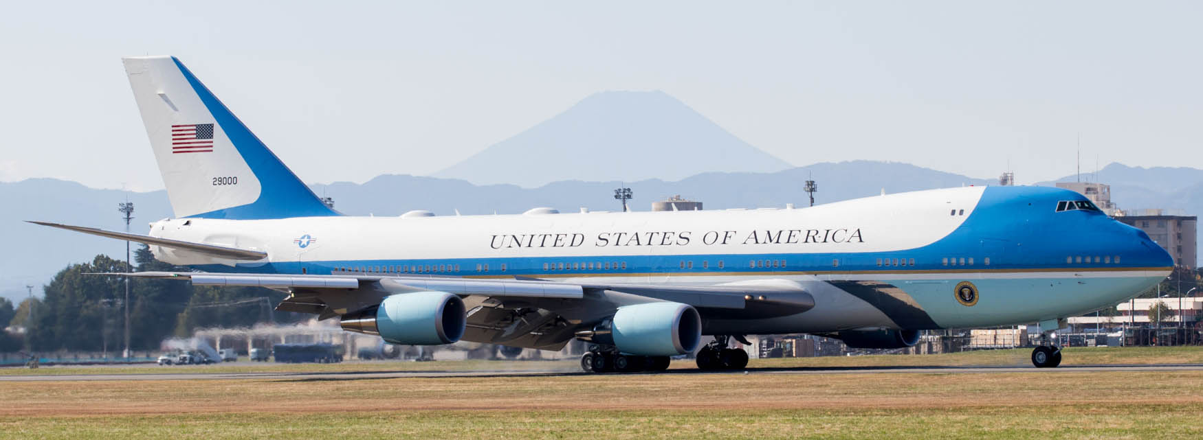 Air Force One Lands at Yokota Air Base with President Trump Onboard