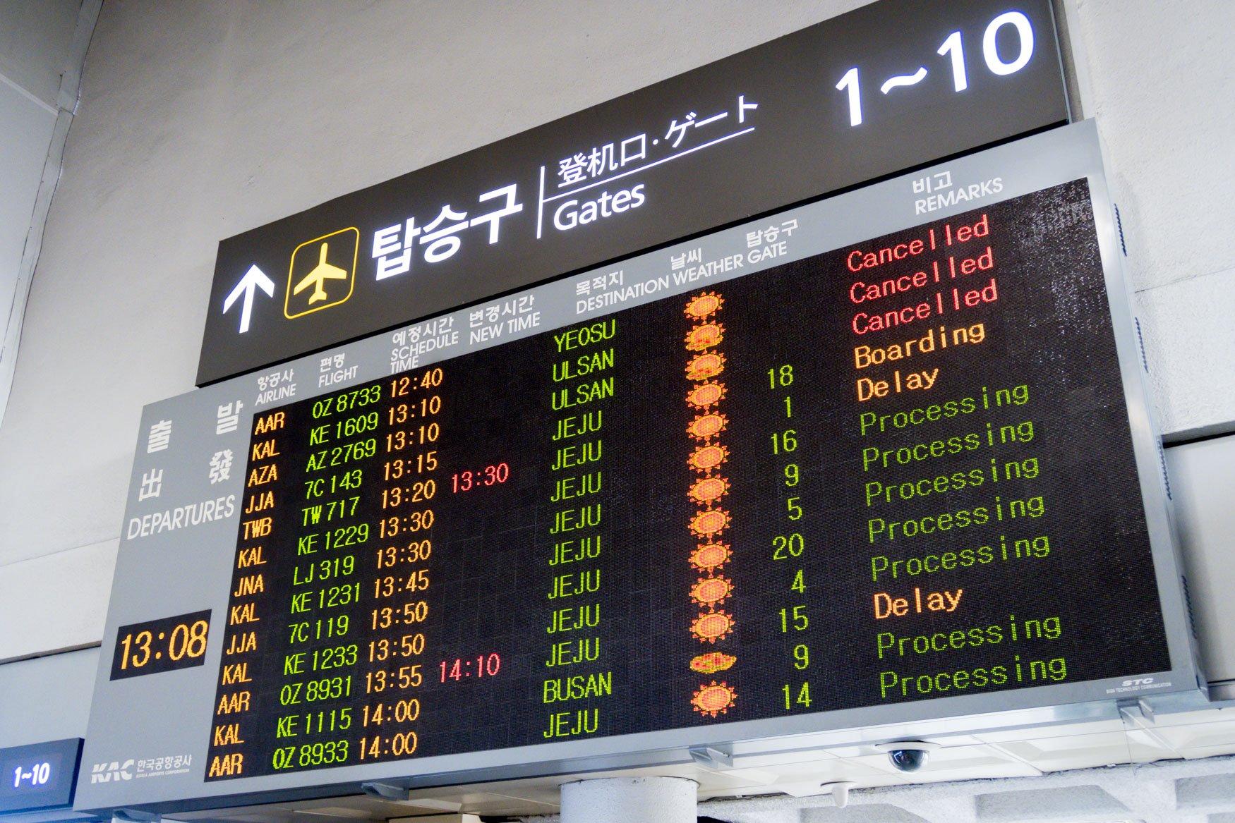 Gimpo Airport Departure Board