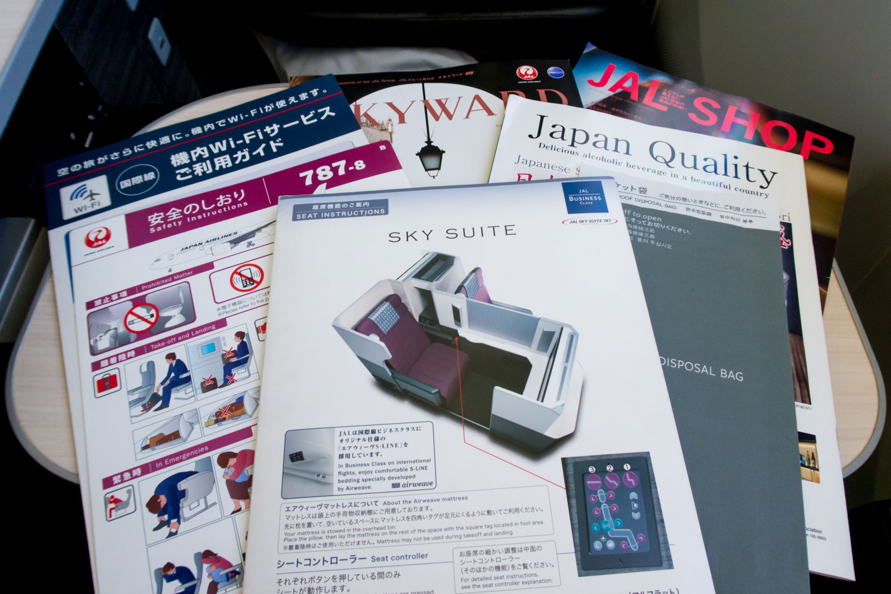 Japan Airlines Seat Guide and In-Flight Magazine