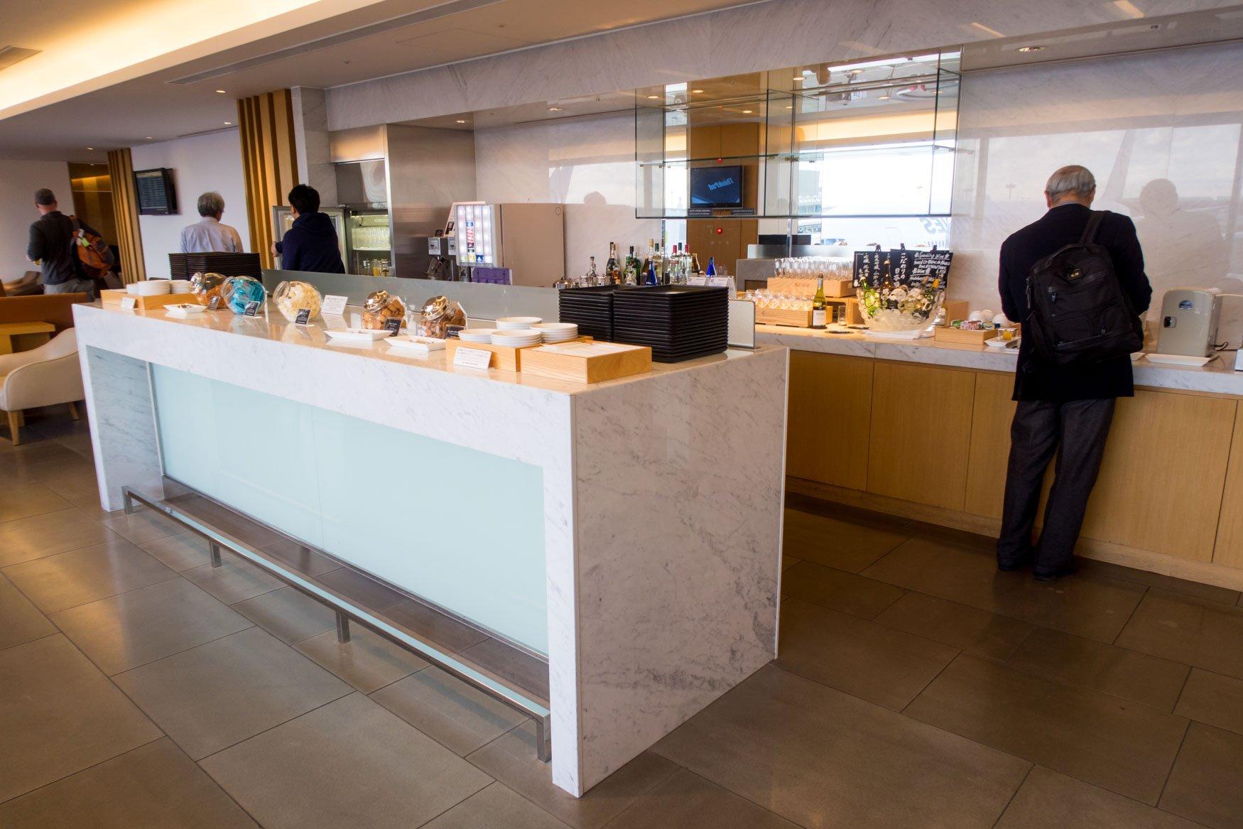 JAL Sakura Lounge Drinks and Snacks Area