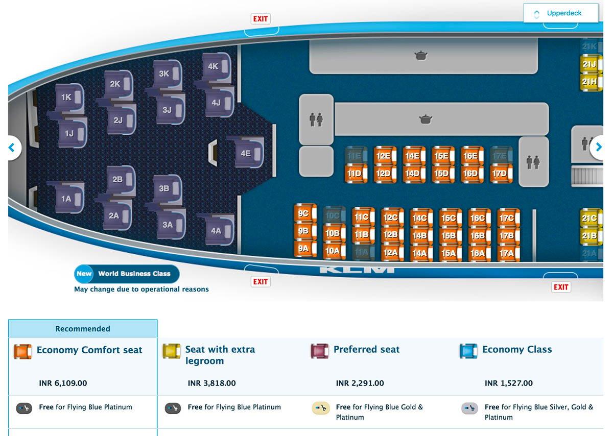KLM 747-400 Seatmap