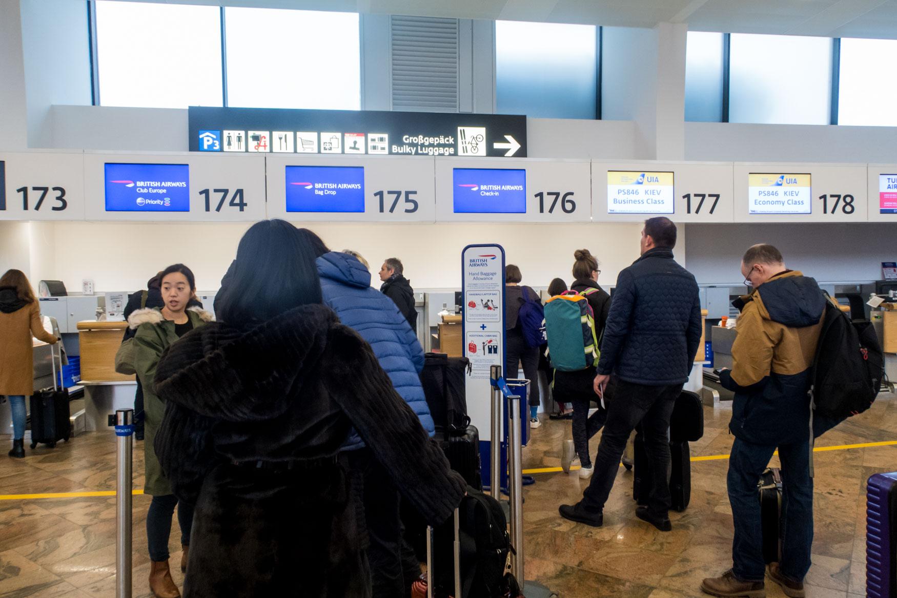 British Airways Check-in Counters at Vienna Airport