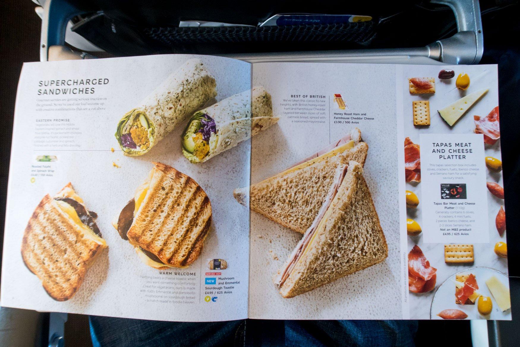 British Airways Marks & Spencer Menu