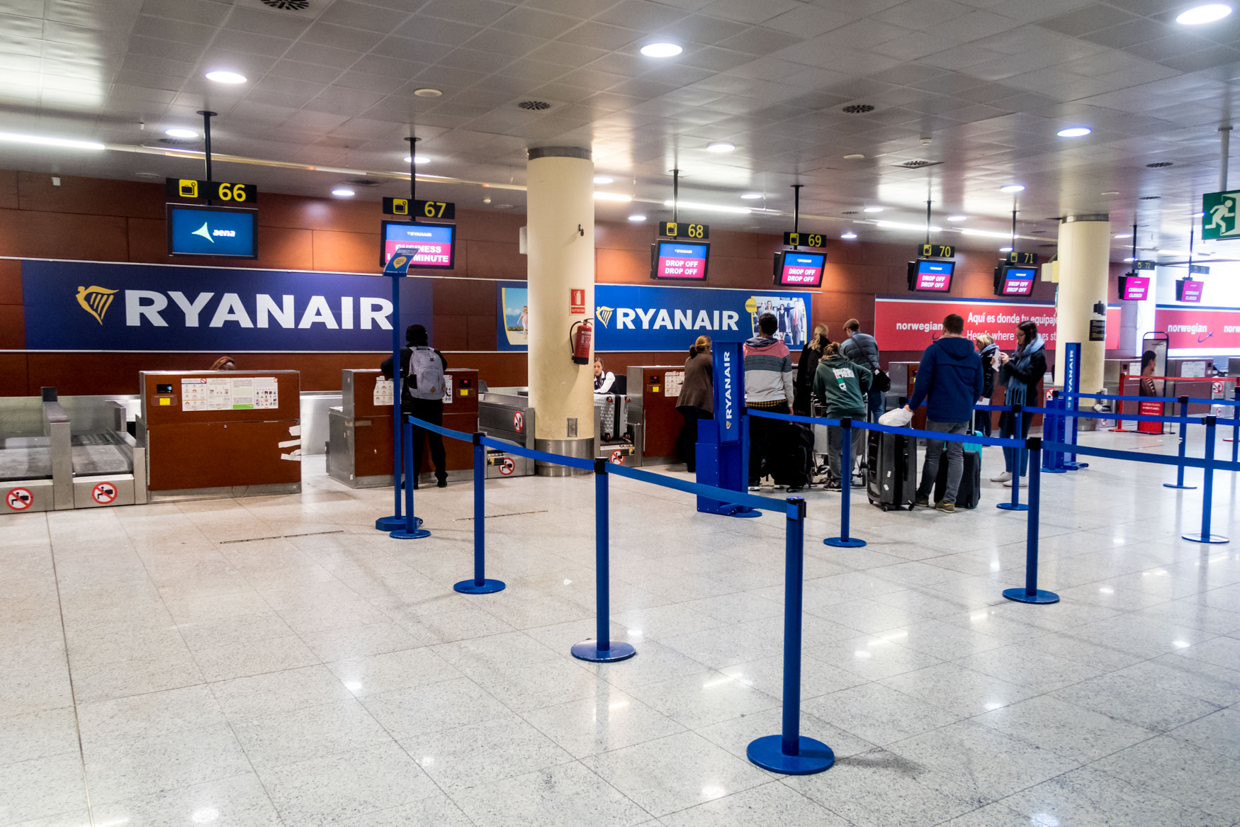 Ryanair Check-In Counters at Barcelona Airport