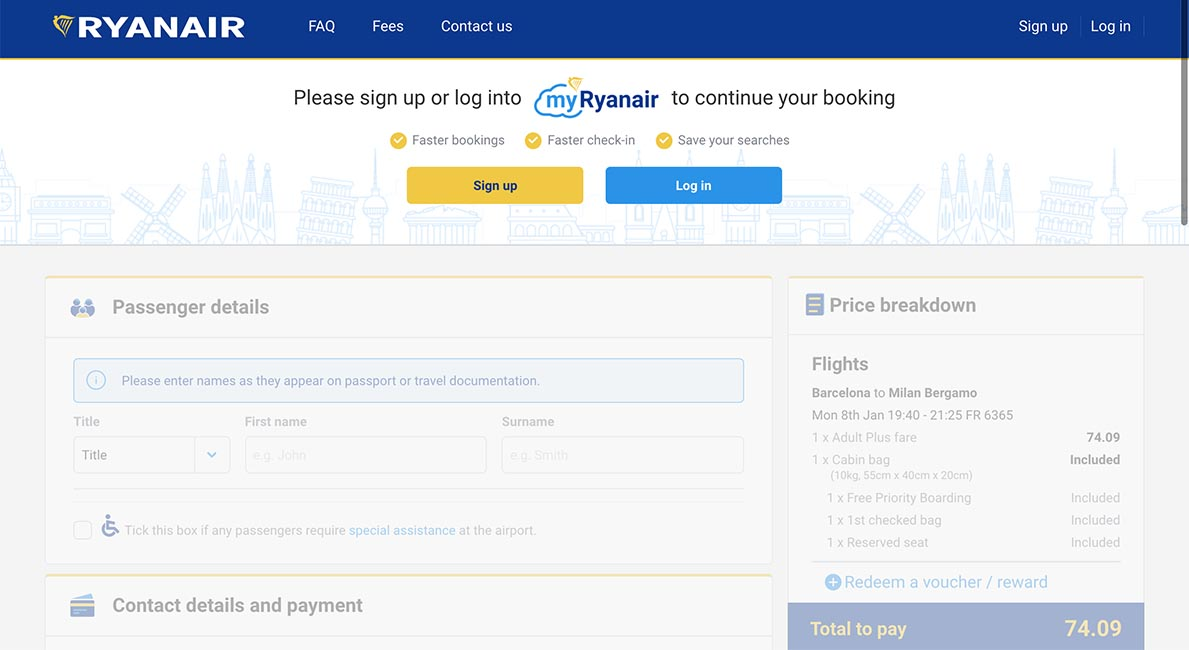 Ryanair Website Registration