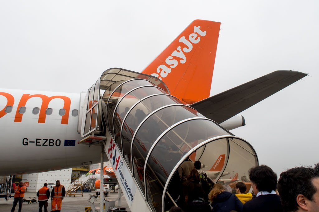 Boarding easyJet Through the Rear Stairs