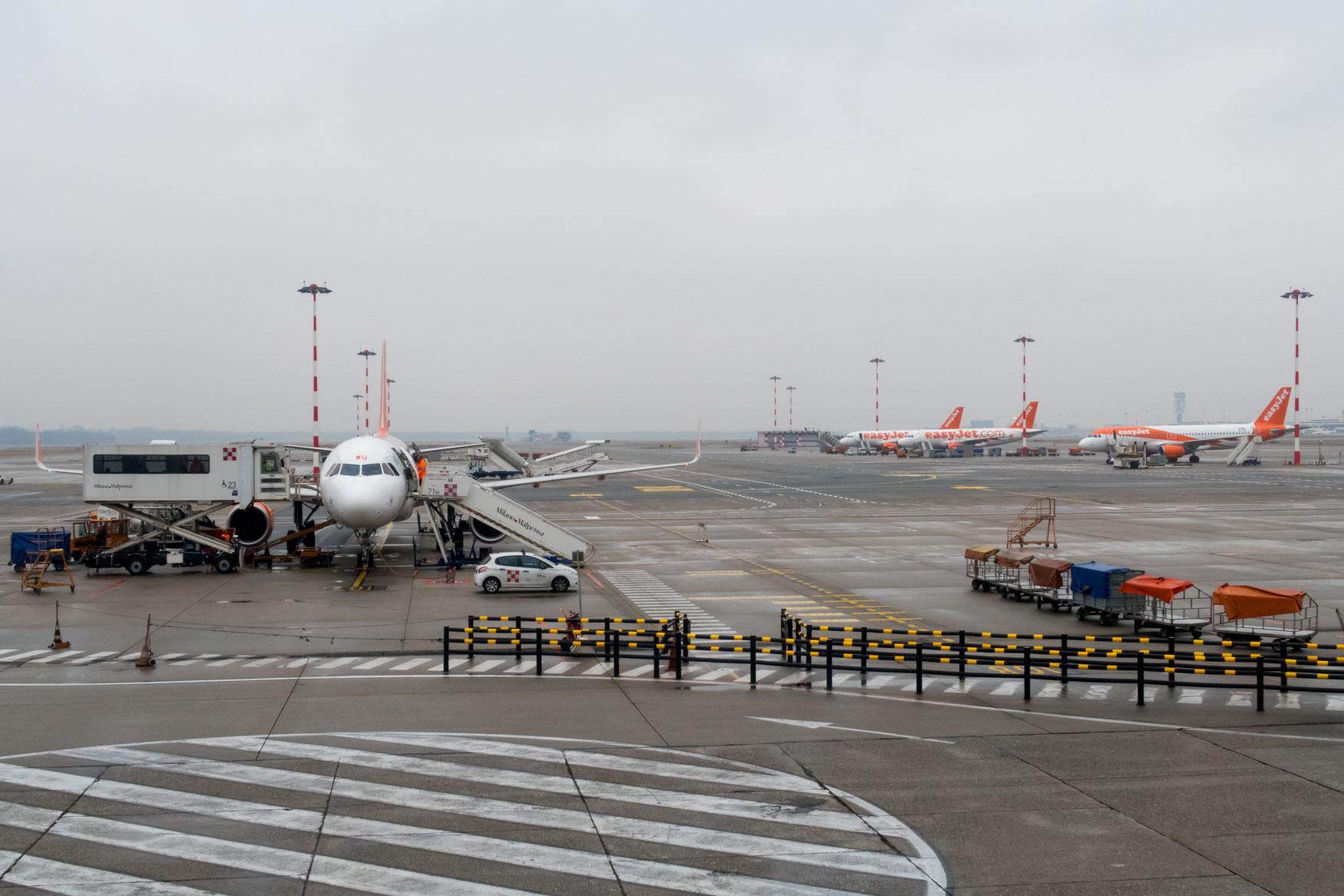 easyJet Airbus A319 at Milan Malpensa Airport Terminal 2