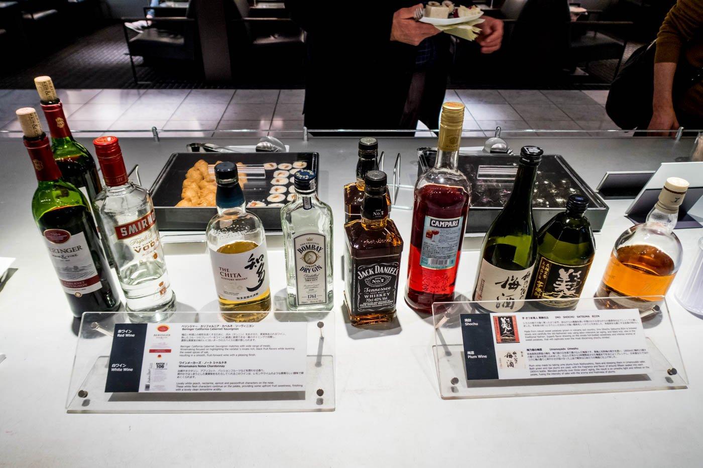 Alcohol at ANA Lounge Narita