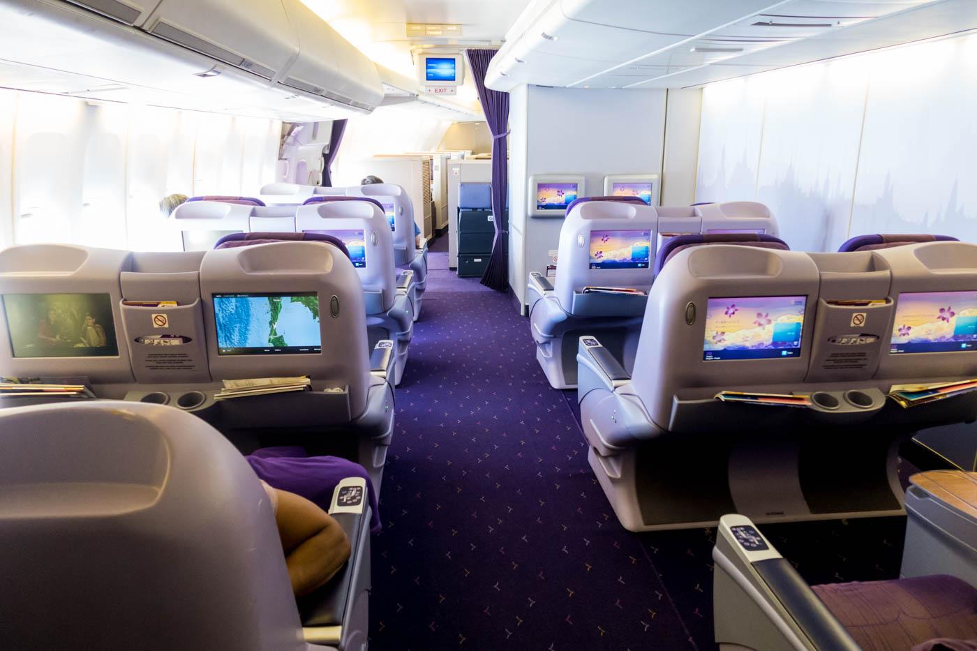 Thai Airways 747 Lower Deck Business Class Cabin
