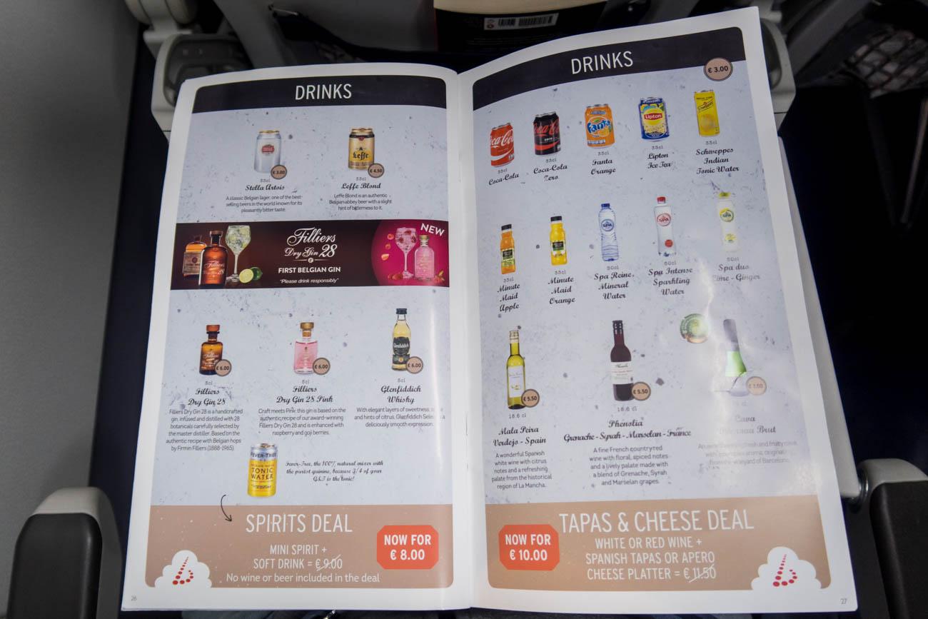 Brussels Airlines Drinks Menu