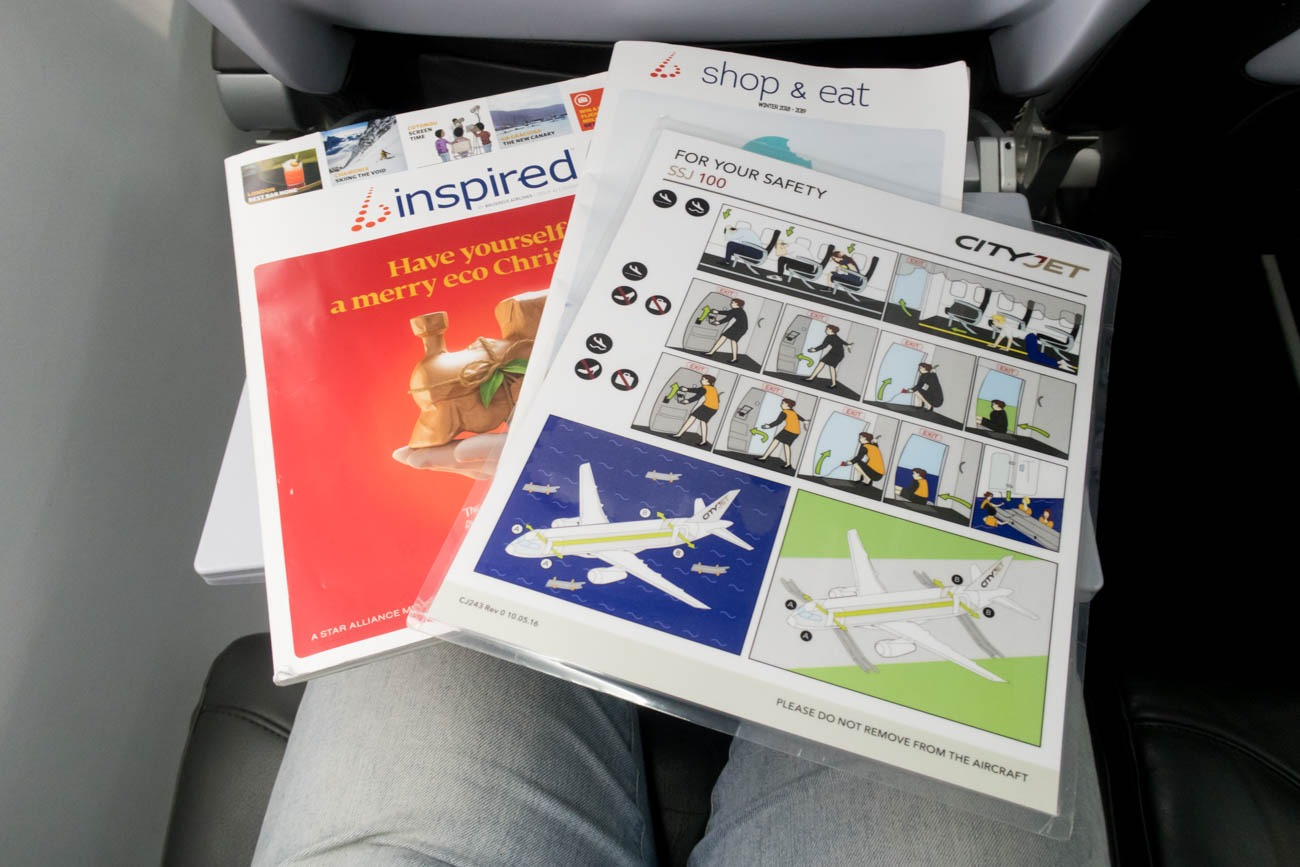 Brussels Airlines SSJ Seat Pocket Contents