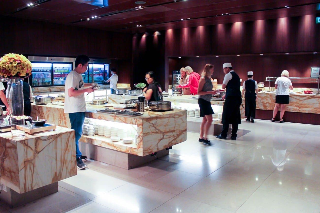 Singapore Airlines SilverKris Business Class Lounge Buffet Area