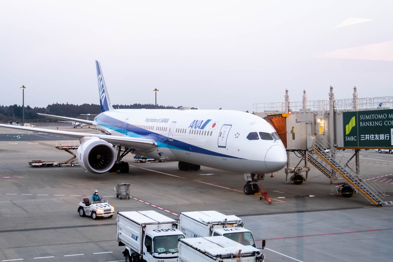 ANA 787-9 almost ready for its flight to Singapore.