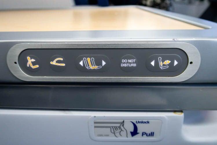 ANA 787-9 Business Class Seat Controls