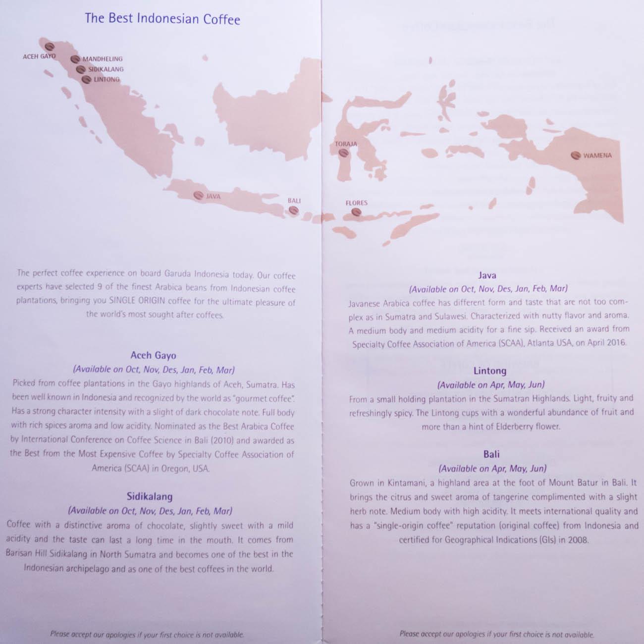 Garuda Indonesia Business Class Drink Menu