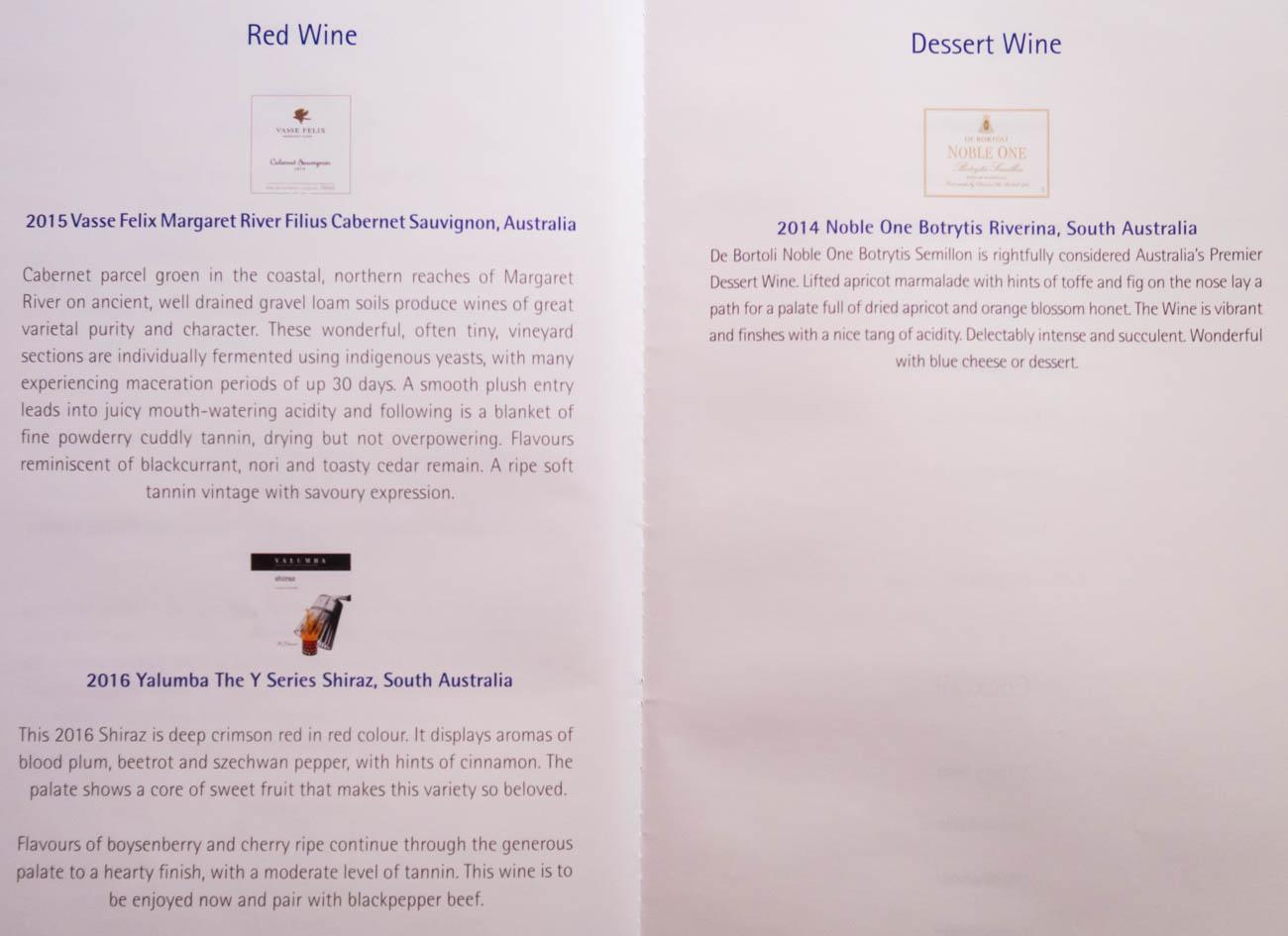 Garuda Indonesia Business Class Wine Menu