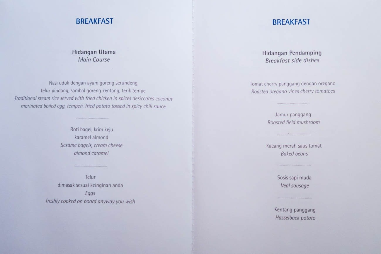 Garuda Indonesia Business Class Menu