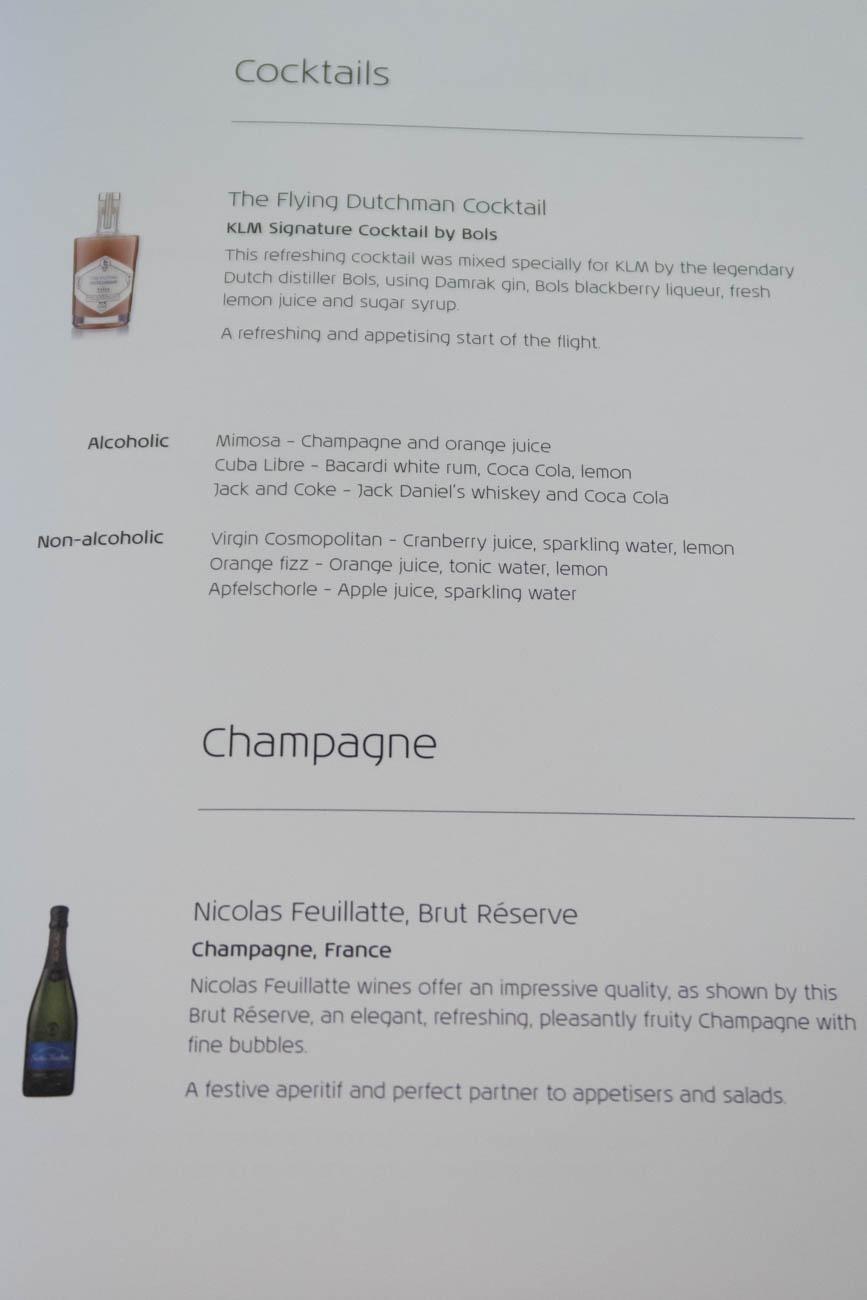 KLM Business Class Alcohol Menu