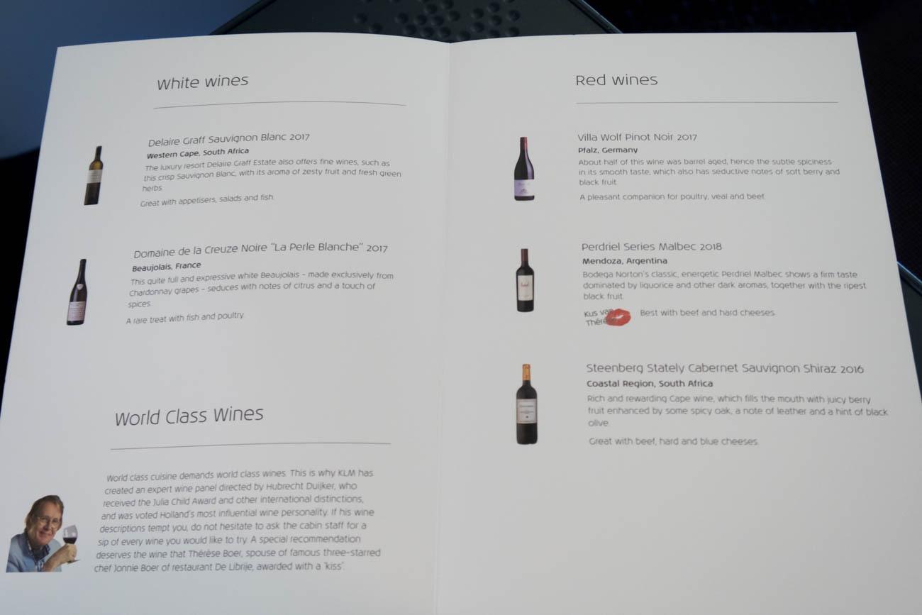 KLM Business Class Wine Menu