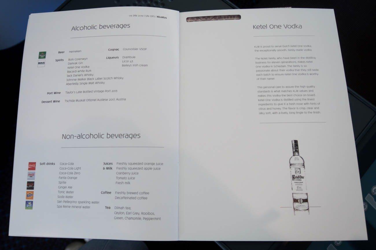 KLM Business Class Drink Menu