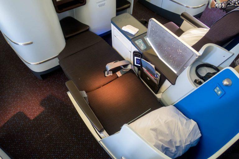 KLM Business Class Seat in Lie-Flat Mode