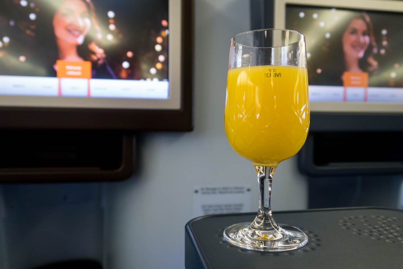 KLM Business Class Welcome Drink
