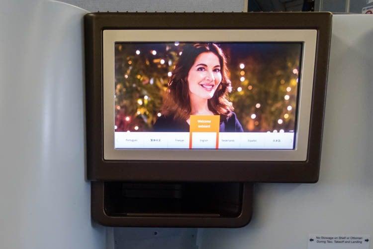 KLM Business Class IFE Screen
