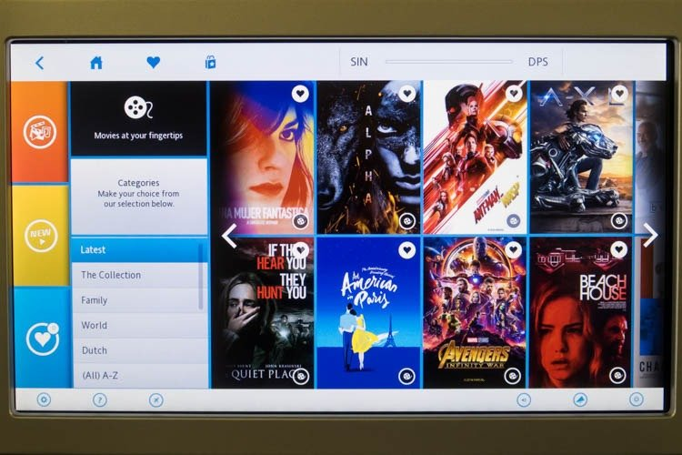 KLM In-Flight Entertainment System Latest Movies