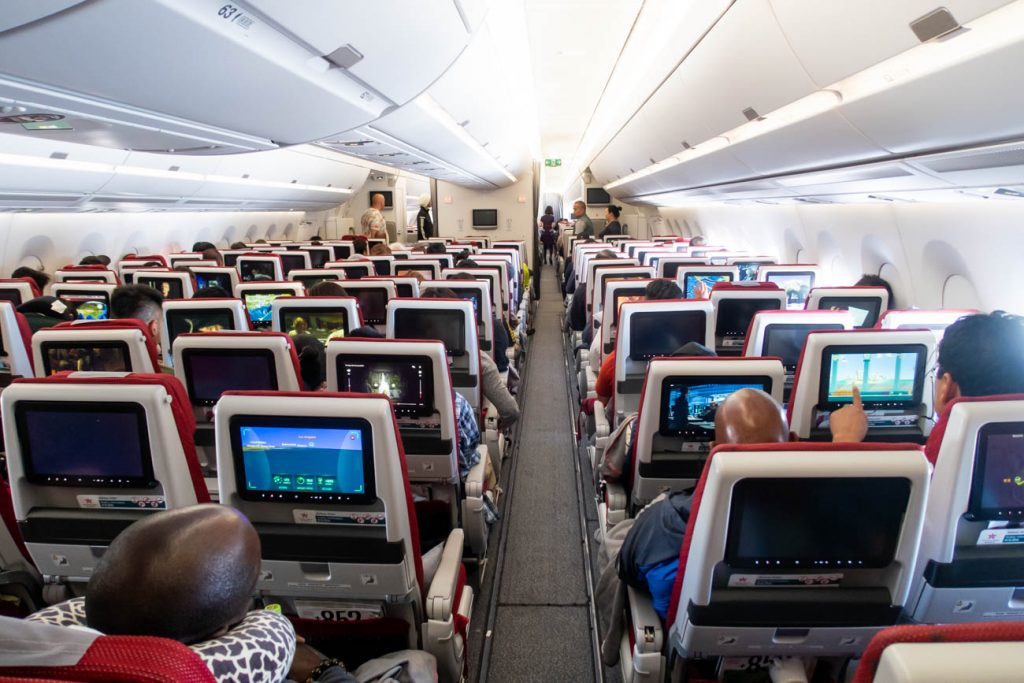 Hong Kong Airlines Airbus A350 Economy Class Cabin