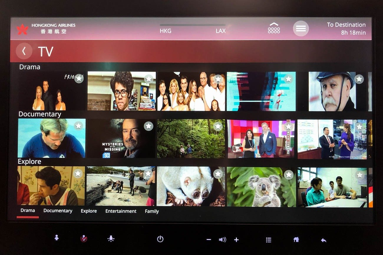 Hong Kong Airlines A350 In-Flight Entertainment (TV Shows)