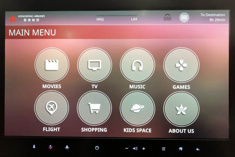 Hong Kong Airlines A350 In-Flight Entertainment