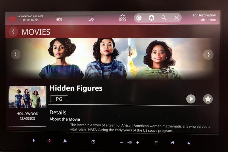 Hong Kong Airlines A350 In-Flight Entertainment (Movies)