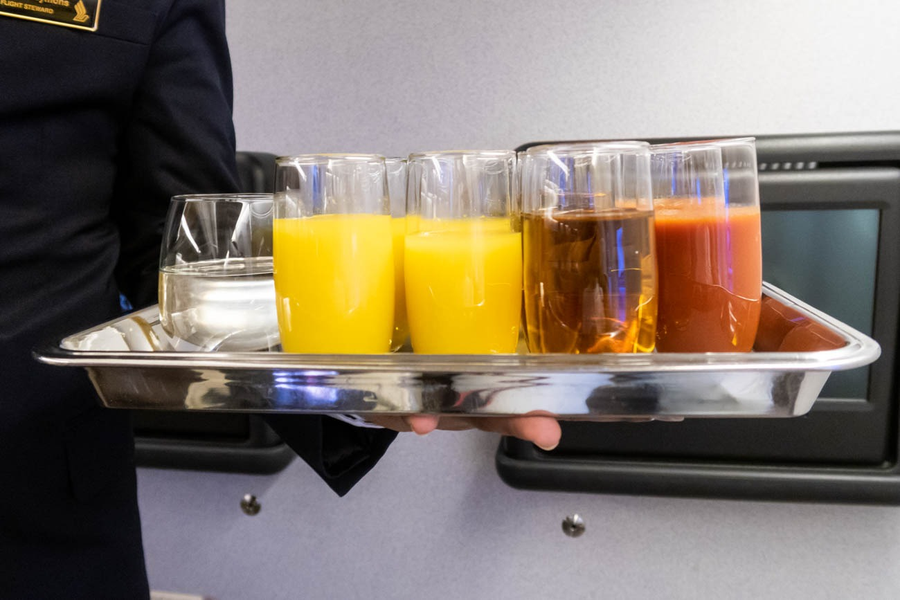 Singapore Airlines Business Class Welcome Drink Selection