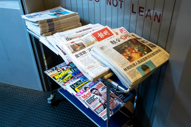 Newspapers Offered on Singapore Airlines