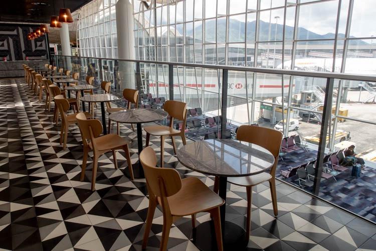 Qantas Lounge Hong Kong Seating Near the Bar