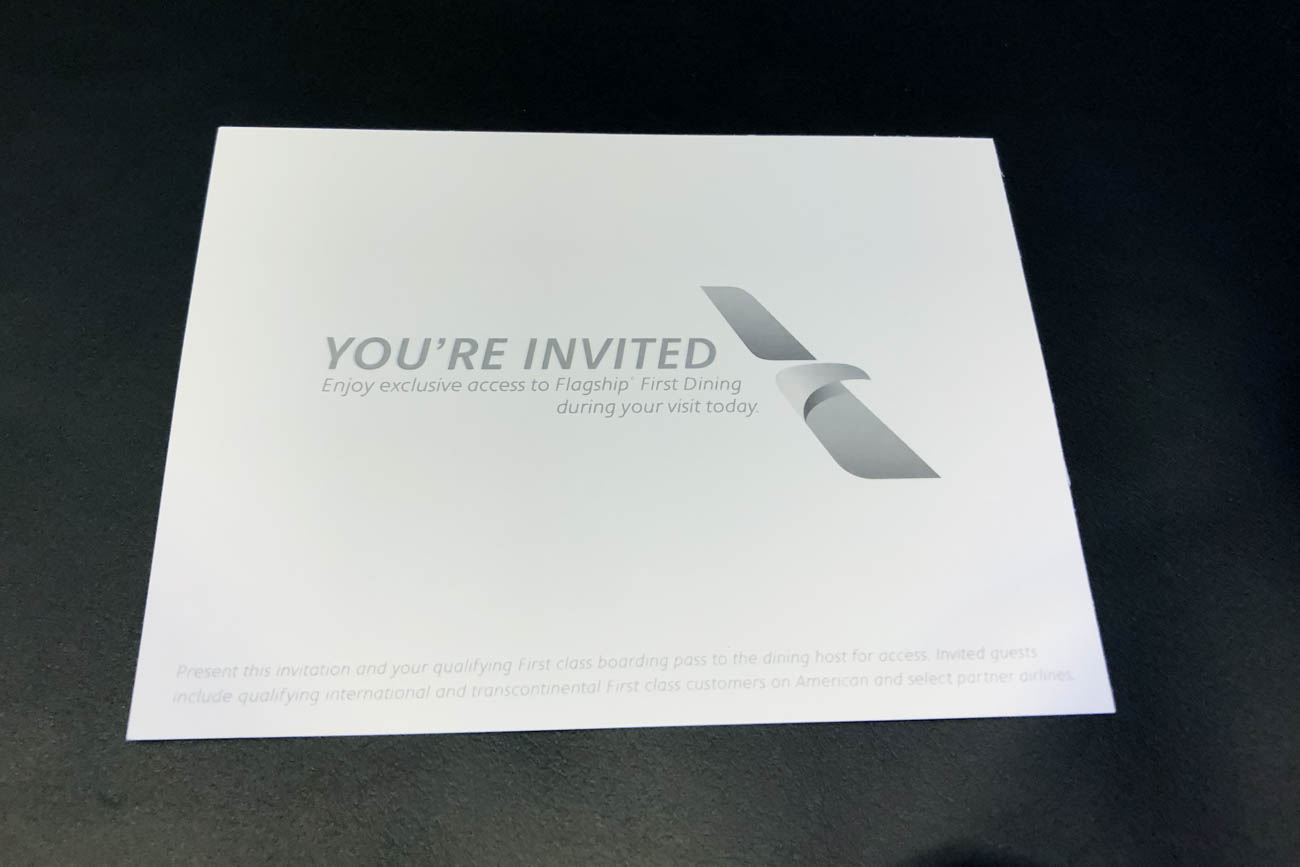 American Airlines Flagship First Dining at JFK Invitation
