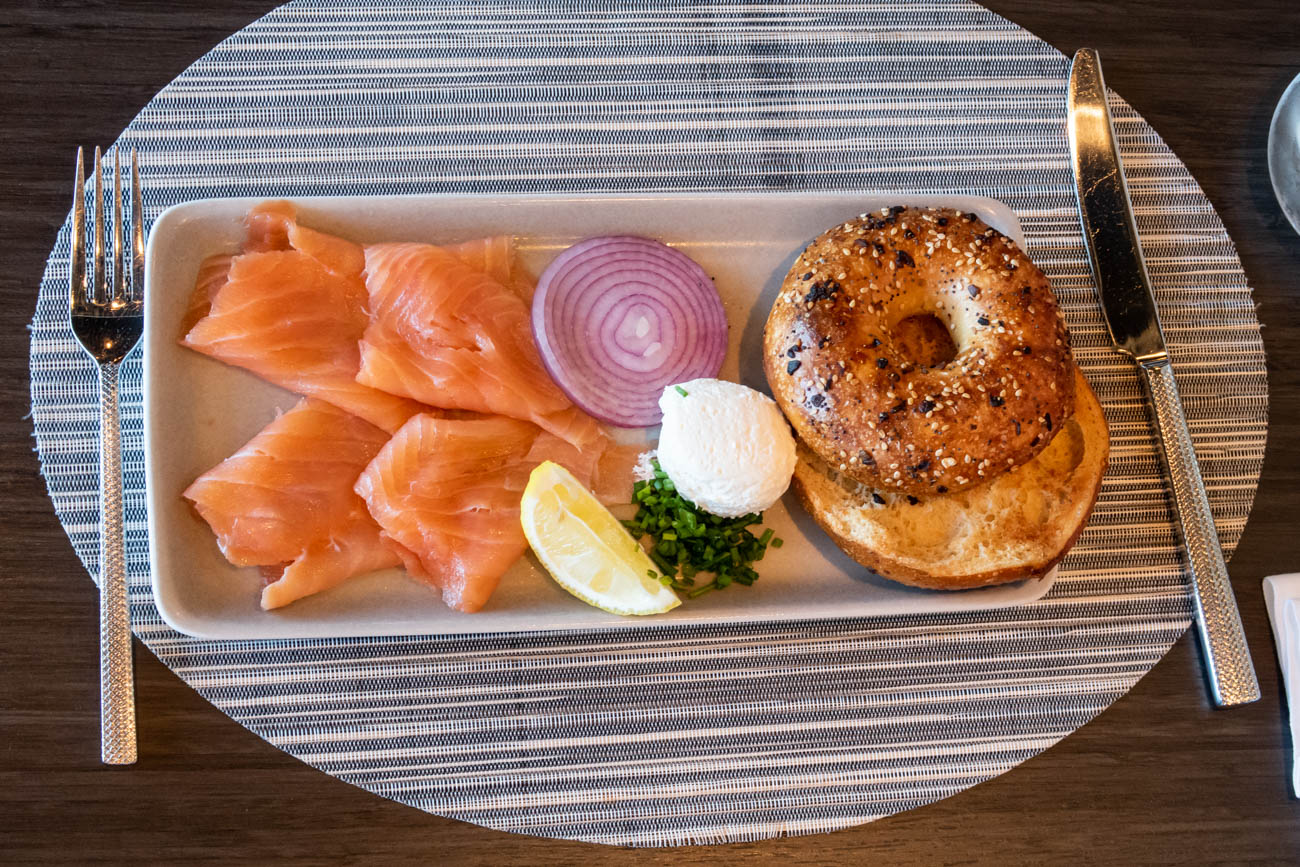 American Airlines Flagship First Dining at JFK Bagel