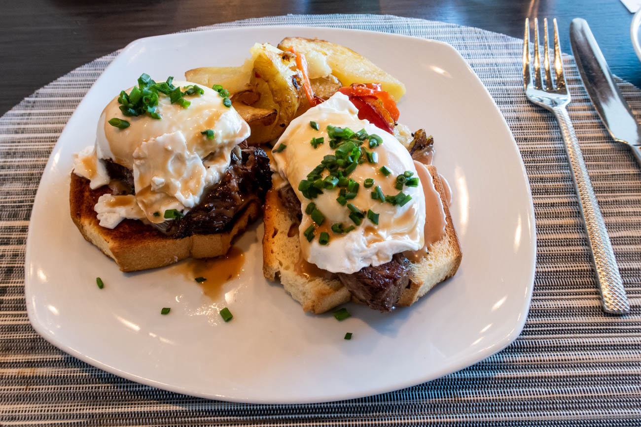 American Airlines Flagship First Dining at JFK Breakfast Steak